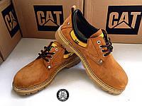 Туфли мужские (дерби) осенние нубук CAT yellow (реплика)