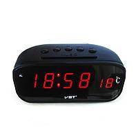 Автомобильные часы VST 803C-1 красные, часы автомобильные электронные, компактные авточасы с термометром vst