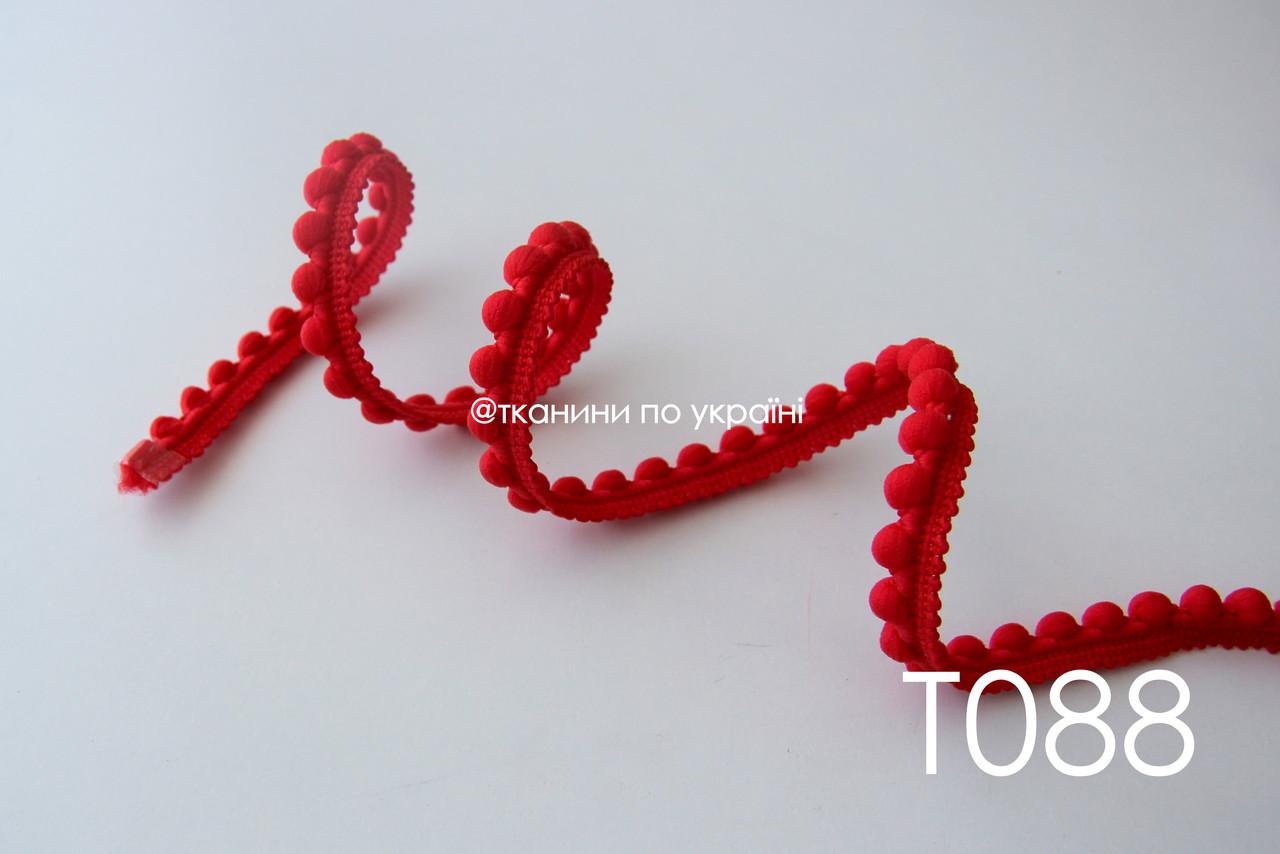 Тесьма со вставками красная 12 мм (Т088)