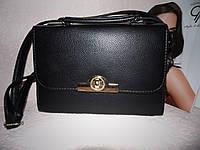 Черная женская сумка с ручкой и ремнем