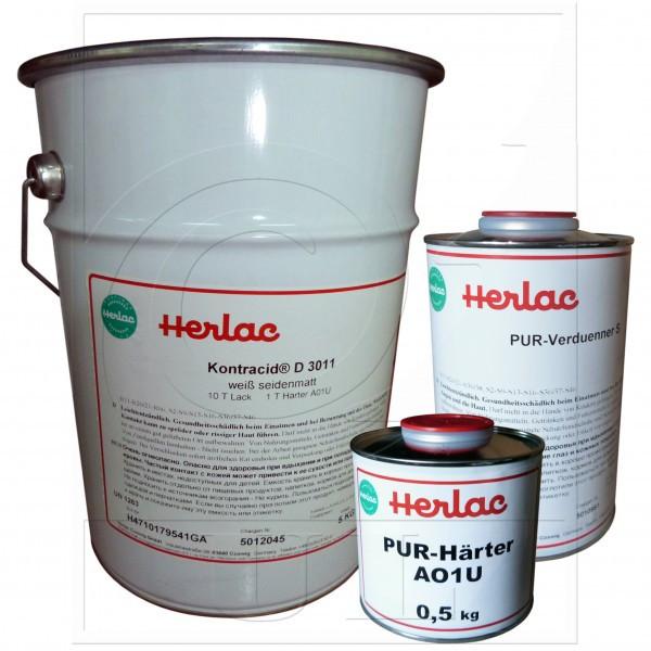 2-К Полиуретановая эмаль, белая  ш-м. Contracid D3011 HERLAC (25кг. эмаль., отв. A01U 2,5кг., раств.30U 4л.)
