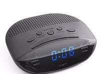 Сетевые электронные часы с радиоприемником VST 908-5 синие, часы fm радио, радиочасы будильник