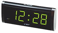 Электронные сетевые часы VST 730-4 салатовые, часы с будильником, часы настольные цифровые с подсветкой