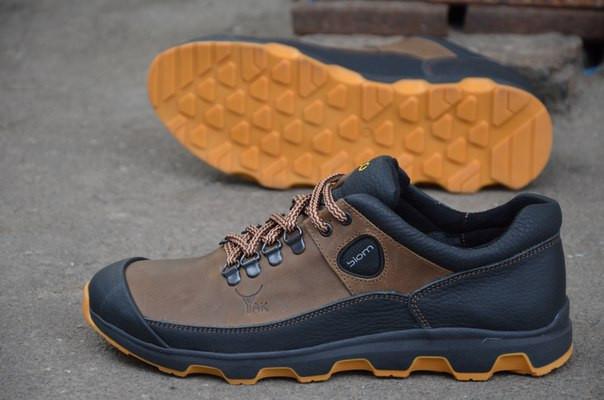 Ecco Biom мужские кроссовки кожаные (спортивные туфли) коричневые (Реплика  ААА+) - 05f97e3f342