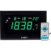 Настенные говорящие часы с пультом управления VST 771 Т-4 салатовые, мультифункциональные электронные часы