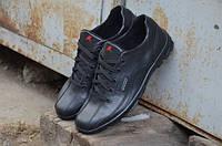 Мужские туфли спорт (ботинки демисезонные)  Ecco черные