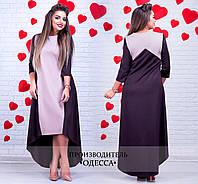 Коричневое асимметричное платье Лида