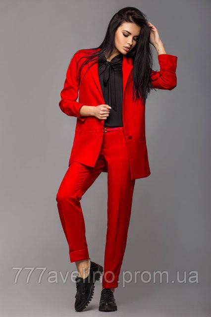 Женский брючный деловой костюм стильный красный