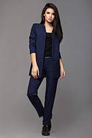 Женский брючный деловой костюм стильный синий