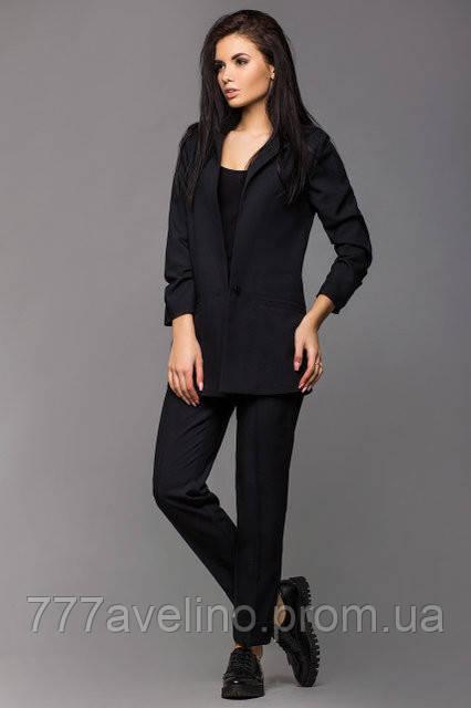 Женский брючный деловой костюм стильный черный