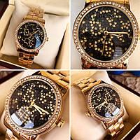 Годинник Guess 114612 жіночі золотистий корпус циферблат в каменях копія копія Чорний