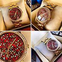 Часы Guess 114612 женские золотистый корпус циферблат в камнях копия красный копия, фото 1