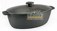 Гусятница (утятница) чугунная 6л с чугунной крышкой, чугунная посуда Биол (0606)