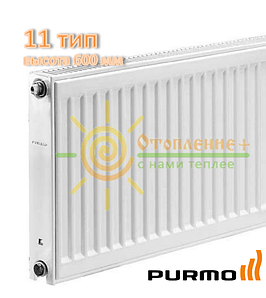 Радиатор стальной Purmo 11 тип 600х400 боковое подключение