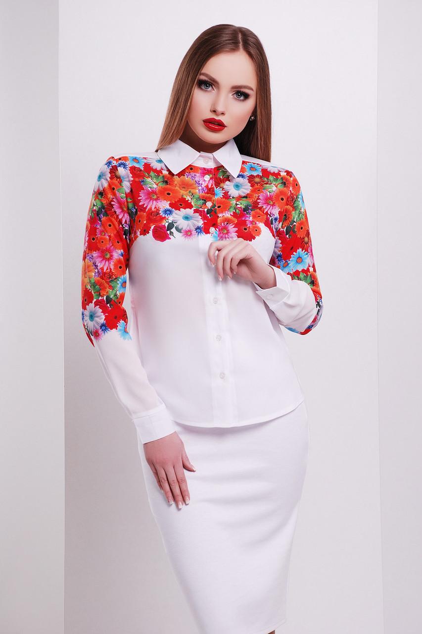 d8145b3f391 Красивая белая блузка с яркими герберами - Интернет - магазин модной одежды  и аксессуаров