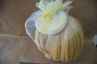 Шляпка цветок желтая.ручная работа.