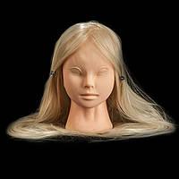 Учебная голова манекен для  плетения и макияжа  65 см, блондинка