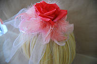 Шляпка цветок розовая.Ручная работа.