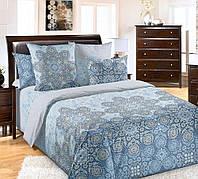 Полуторное постельное белье Ажур морской, бязь ГОСТ 100%хлопок -простынь на резинке 90/200/25