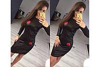 Мягкое приталенное кожаное платье с вышивкой, фото 1