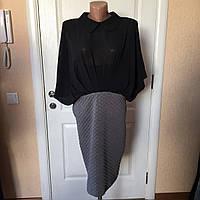 Платье женское офисное Coconuda комбинированное серо-черное рукав летучая мышь
