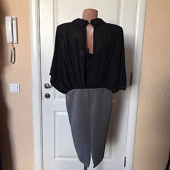 Платье женское офисное Coconuda комбинированное серо-черное рукав летучая мышь, фото 2
