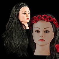 Учебная голова 30% натуральных волос,длина 50-55см, цвет черный, крепление входит в комплект., фото 1