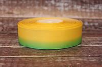 """Лента репсовая градиент 2.5 см """"Омбре желтый +зеленый """" оптом, фото 1"""