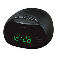 Настольные часы от сети с зеленой подсветкой 901-2, электронные радиочасы, часы сетевые настольные VST