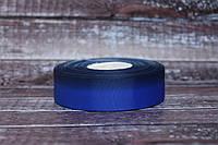 """Лента репсовая градиент 2.5 см """"Омбре синий + темно-синий """" оптом"""