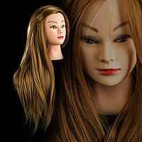 Учебная голова 30% натуральных волос,длина 75 см, цвет золото