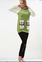 Теплая женская пижама велюр+мех Rabbit