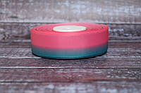 """Лента репсовая градиент 2.5 см """"Омбре ярко-розовый + темная мята """" оптом, фото 1"""