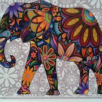 "Картина по цифрам Турбо ""Цветочный слон""  40 х 50 см"