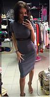Трикотажное платье с сеткой на поясе 3258 (НАТ)