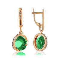 Золотые серьги с зеленым кварцем