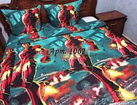 """Постельное для мальчиков """"Железный человек"""", полуторка. тк. РАНФОРС, рисунок 3Д 1062"""