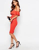 Новое текстурное платье с воланом и открытыми плечами New Look