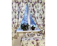 Комплект Шторы и скатерть Прованс из водоотталкивающей ткани Aquarel Lilac, арт. MG-3001