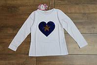 Кофта с паетками для девочек 4-6- 8-10-12 лет Цвет:белый, серый, малиновый