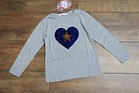 Кофта с паетками для девочек 4-6- 8,12 лет Цвет:белый, серый, малиновый