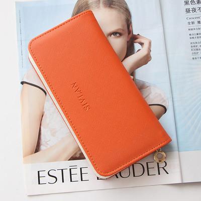 Женский кошелек SIVLAN на молнии большой оранжевый