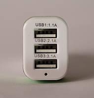 Авто USB Зарядное устройство Адаптер Зарядка  12В  5V  Три гнезда  Качество !!!!