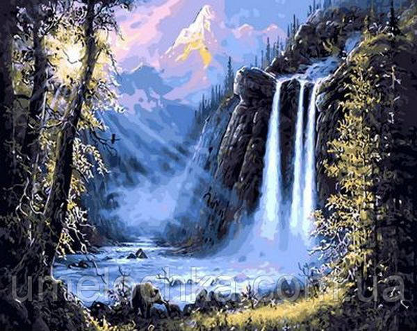 Раскраска по номерам Mariposa Горный водопад (MR-Q493) 40 х 50 см