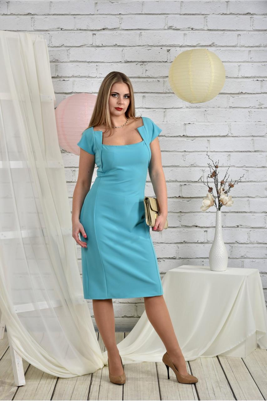 Женское приталенное платье с молнией 0451 цвет голубой размер 42-74 / батальное