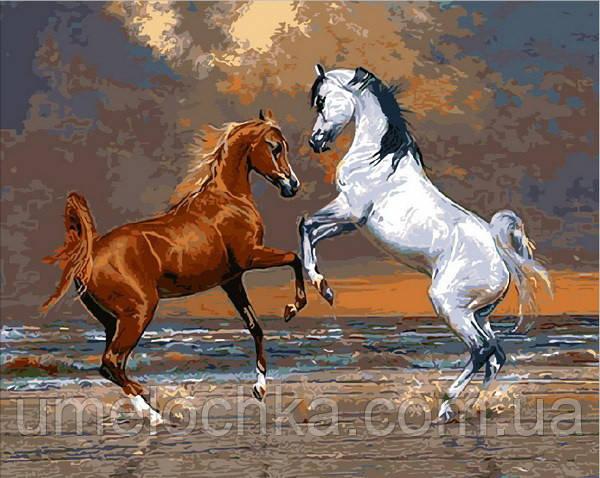 Картина-раскраска Mariposa Лошади на берегу океана (MR-Q2083) 40 х 50 см