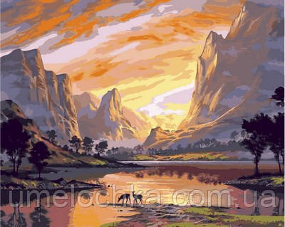 Раскраска по номерам Турбо Закат над горной долиной (VP652) 40 х 50 см