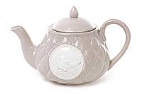 """Керамический заварочный чайник """"Птицы винтаж"""" какао, 0,8 л."""