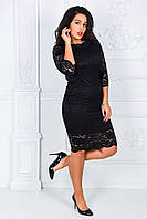 Нарядное и очень красивое гипюровое платье большого размера 50-54  короткое до колена черное