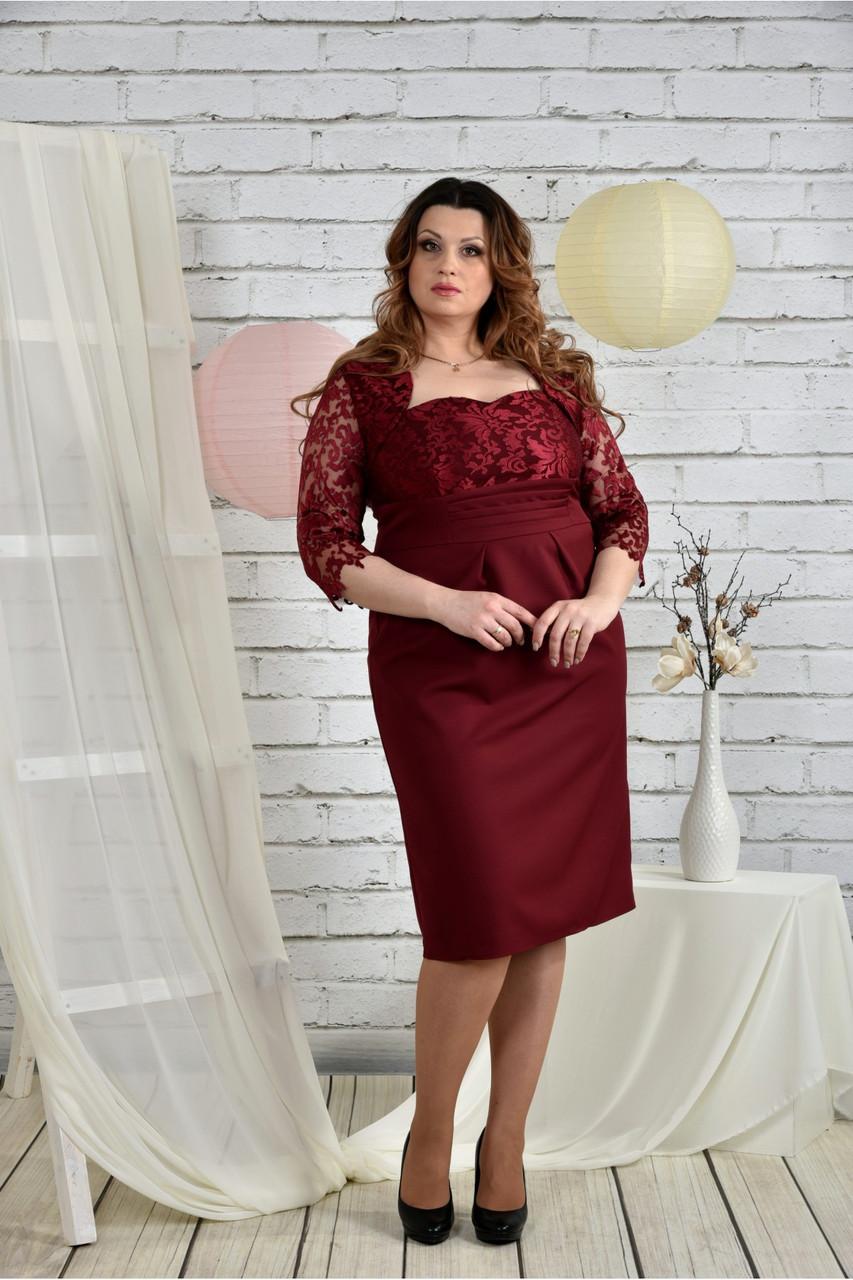 Женское вечернее платье 0450 цвет бордо размер 42-74 / батальное